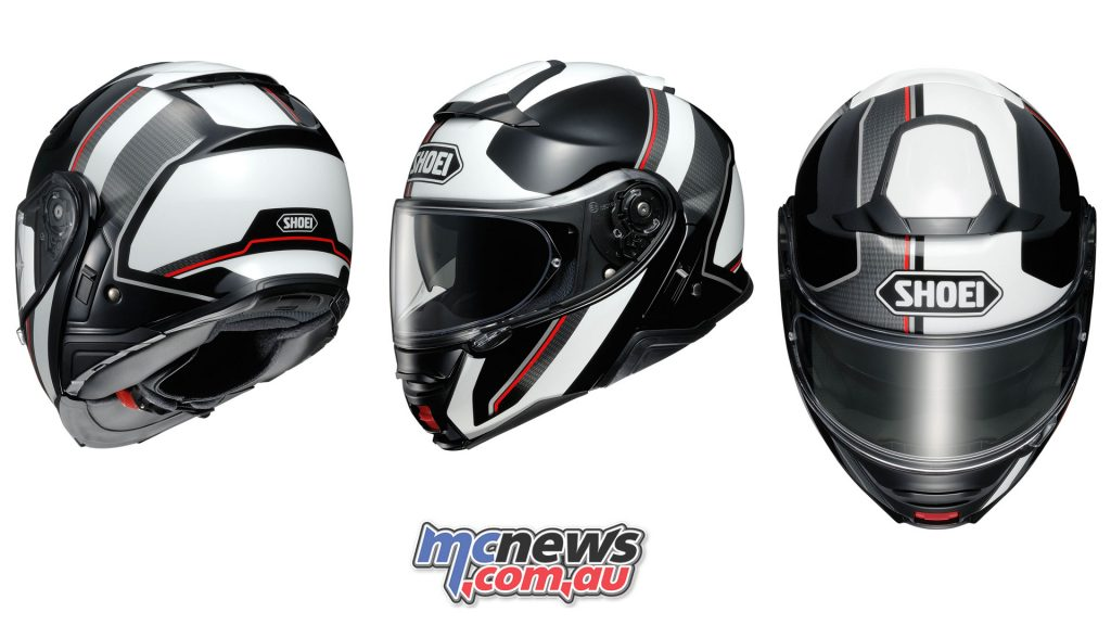 The Shoei Neotec II in Excursion TC-6 graphic