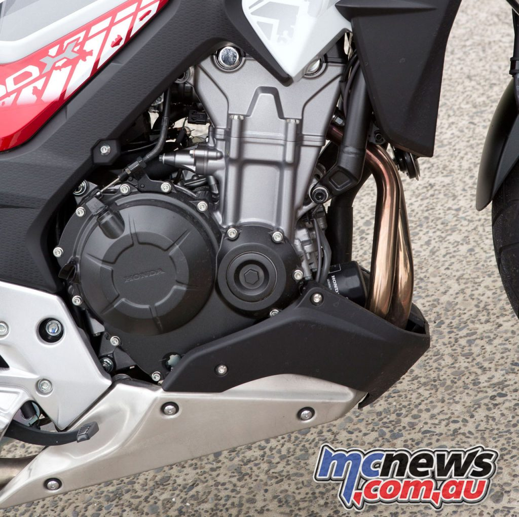 The CB500X's 471cc, liquid-cooled parallel twin cylinder, DOHC, eight-valve four-stroke is a real gem