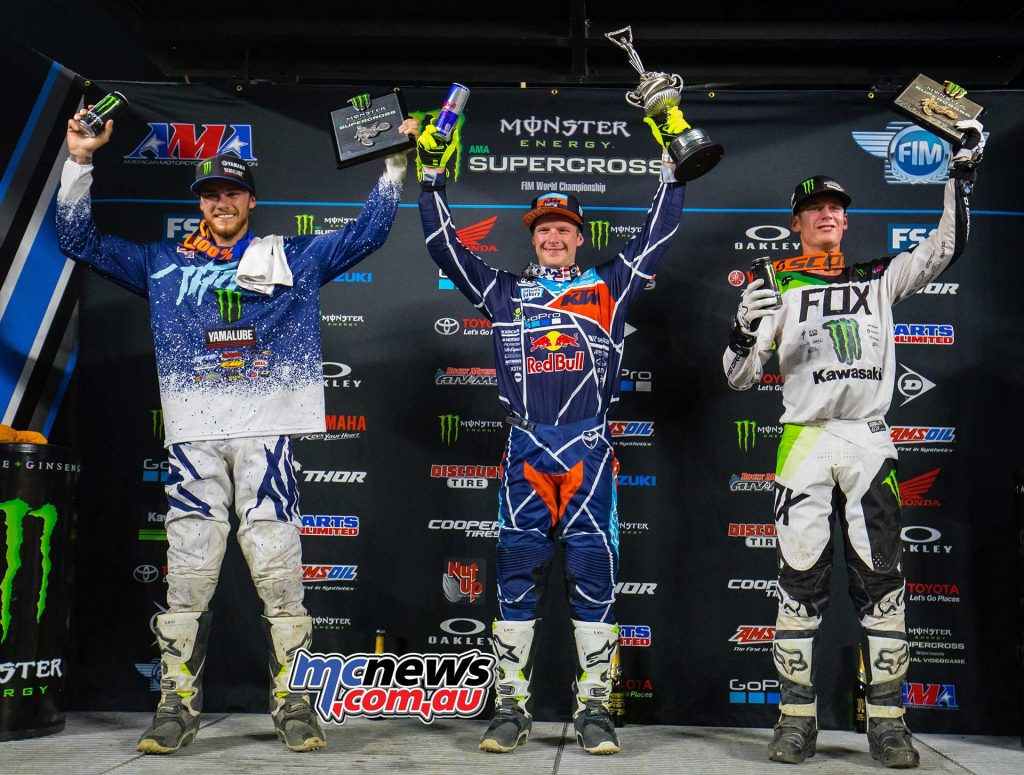 2018 AMA Supercross - Round 1 250SX Podium - Plessinger, McElrath, Cianciarulo