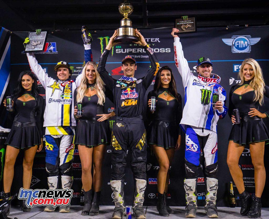 2018 AMA Supercross - Round 1 Podium - Anderson, Musquin, Barcia