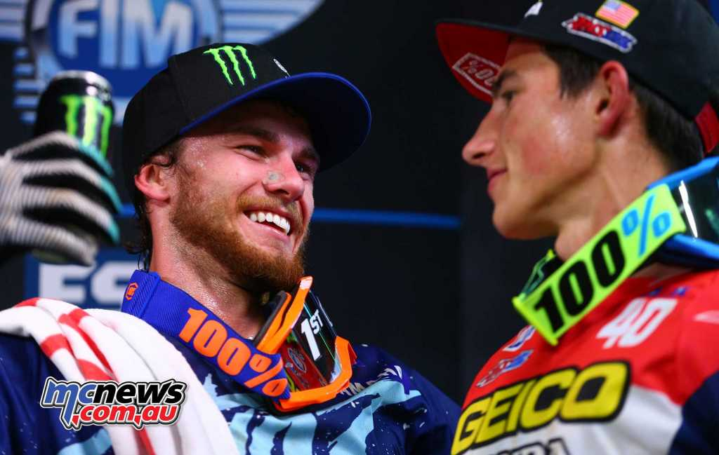 Aaron Plessinger the winner and first time on the podium for Honda's Chase Sexton