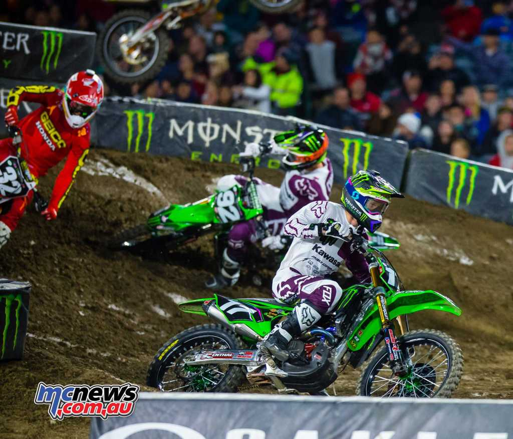 Adam Cianciarulo chasing Christian Craig and Joey Savatgy at A2
