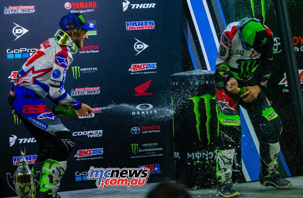Tomac and Barcia celebrate their Glendale SX results - Image by Hoppenworld