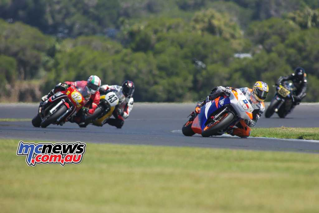 Colin Edwards, Paul Byrne, Jason Pridmore - Race Two - Image by Cam White