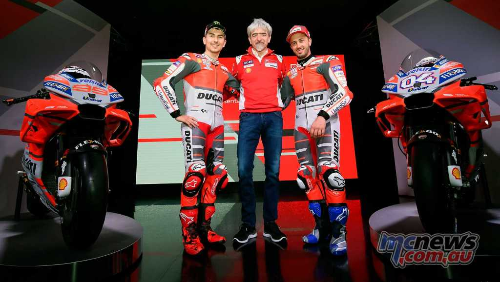 Luigi Dall'Igna, Ducati Corse General Manager with Jorge Lorenzo and Andrea Dovizioso