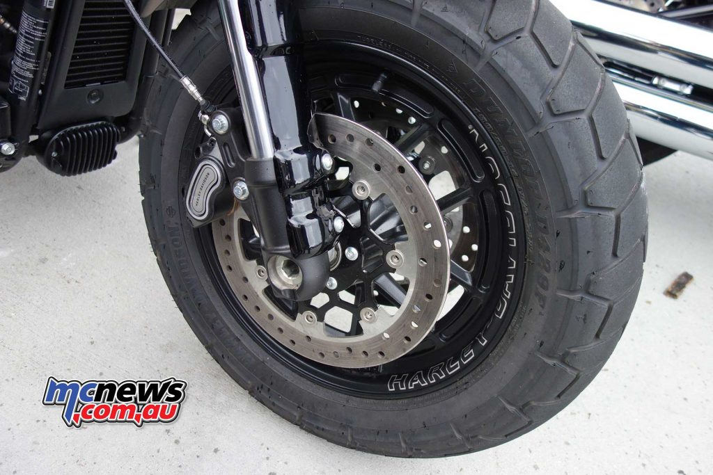 Four-piston calipers are featured alongside the new Showa's 'bending valve' front forks