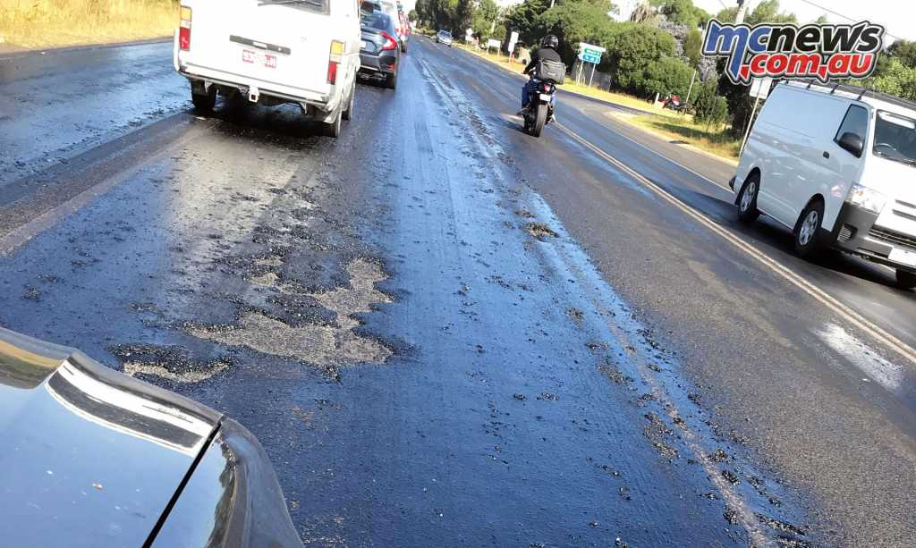 Such was the temperature down at The Island, that the road surface had melted and lifted