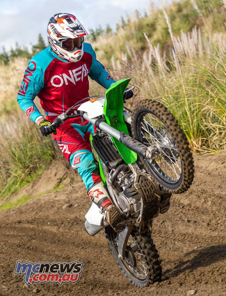 The 2018 KX450F offers smooth throttle control, with tractable, fast power production