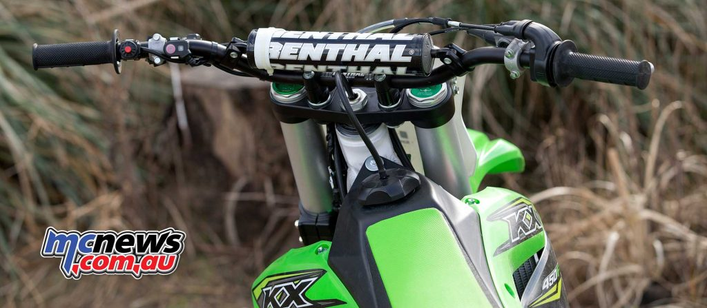 The handlebars offer adjustable positions, ensuring rider comfort and control