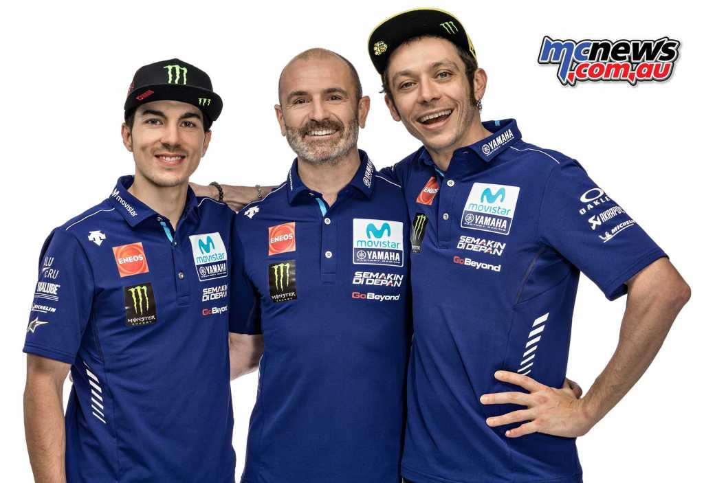 Maverick Viñales with Massimo Meregalli and Valentino Rossi