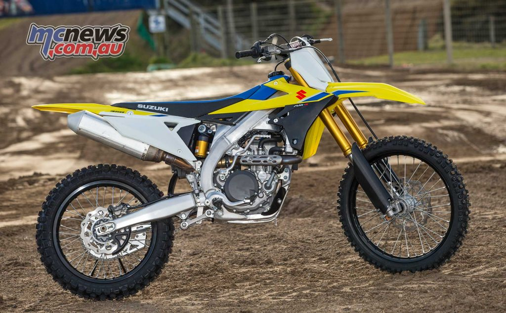 For 2018 Suzuki's RM-Z450 offers a smaller machine with frame revisions, an updated engine and brakes, and with Showa sprung forks with a Balance Free Rear Cushion shock
