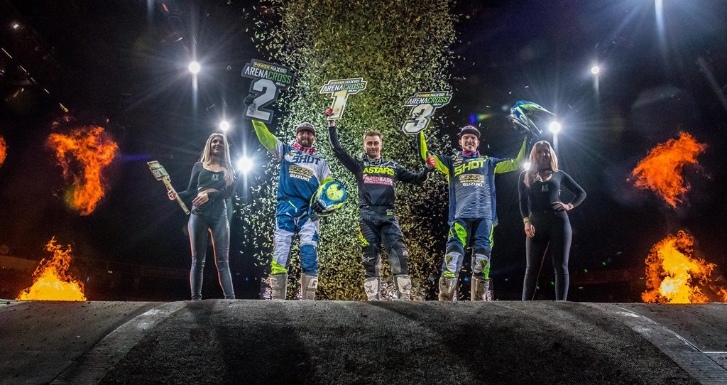 UK Arenacross Round 1 Podium
