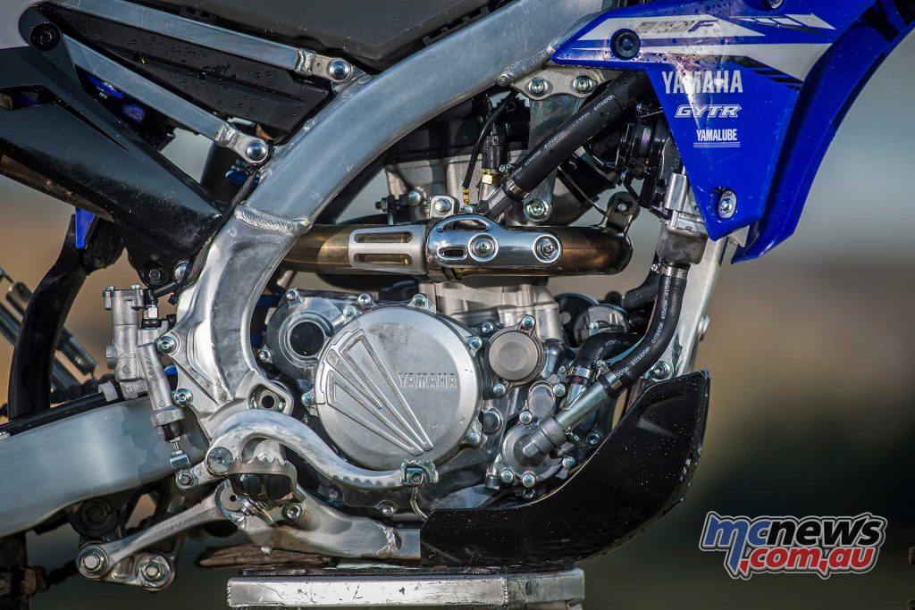 The 2018 WR250F's engine was also overhauled and is now much closer to the YZ's