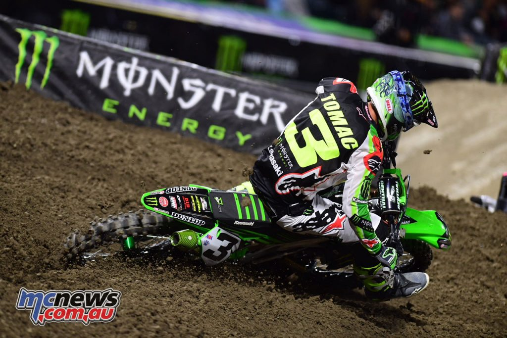 Despite a strong start Tomac was injured in the A1 event