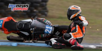 Jarred Brook taking a tumble on his SS300 KTM 390 - Image by TBG