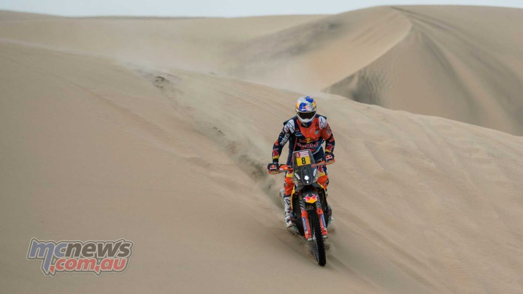 Toby Price continues to get himself dialled in, both to his new KTM 450 RALLY and to competition in general. The Australian increased his pace as the day went on and moved up from his start position of 14th to 10th at the end of the stage.