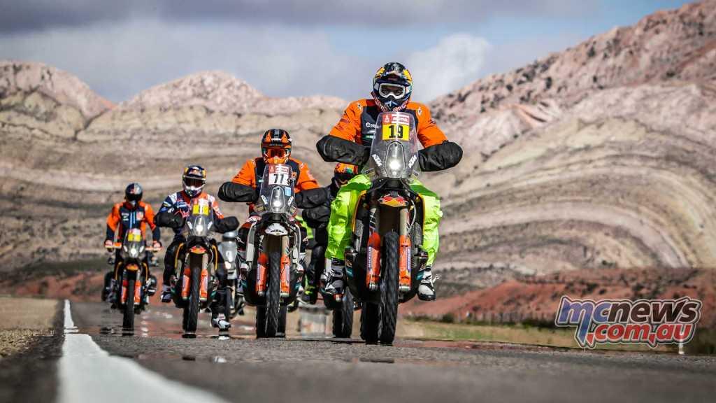 KTM Riders in convoy led my Meo, Benavdies, Price and Walkner