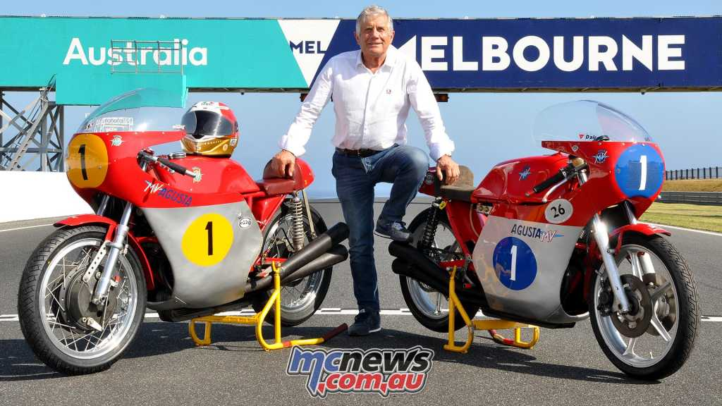 Giacomo Agostini with his World Championship winning MV Agustas at the 2018 Island Classic - Image by Russ Colvin