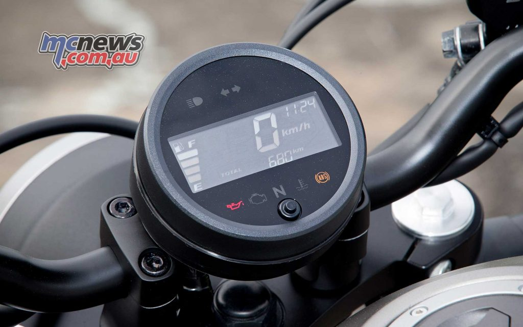 An LCD dash also offers plentiful information at a glance