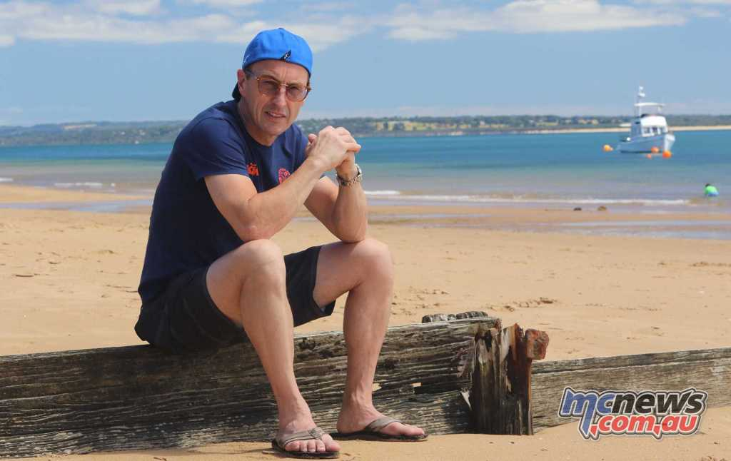 Jeremy McWilliams enjoying the beach at Phillip Island today