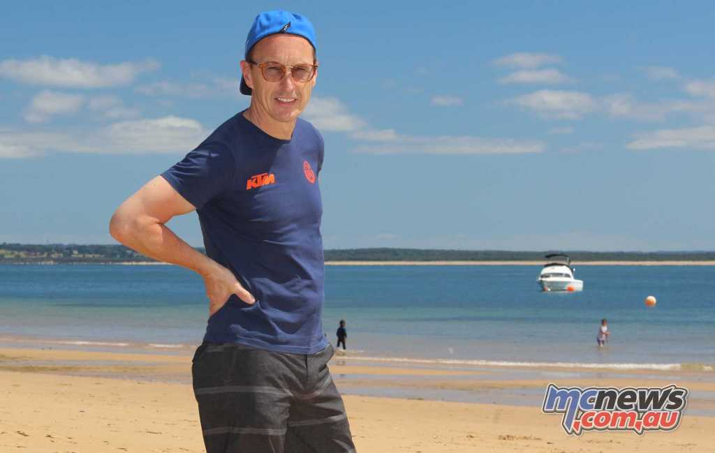 Jeremy McWilliams enjoying the beach at Phillip Island ahead of this weekend's intense competition