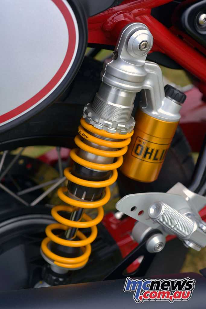 Ohlins twin shock absorbers are also featured
