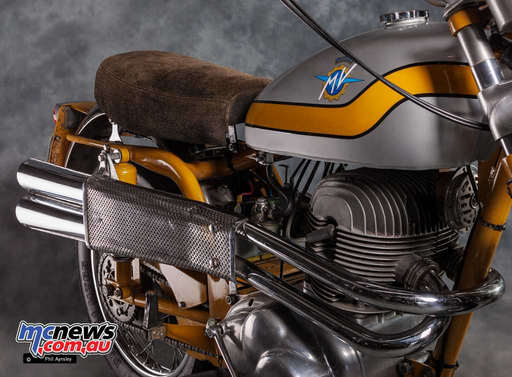 The Scrambler features the twin-cylinder four-stroke air-cooled OHV powerplant