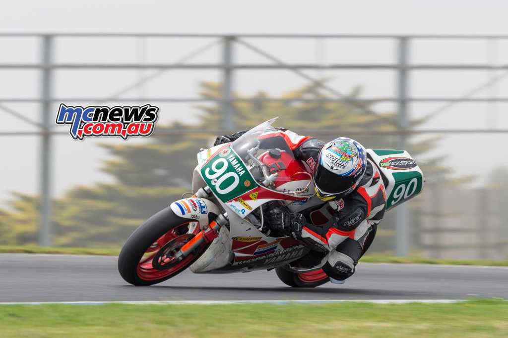 This shot of Levi Day from this afternoon at Phillip Island illustrate the strange fog that shrouded the circuit this afternoon, despite an ambient temperature around 30-degrees and a track temperature nudging 50-degrees celsisu - Image by TBG