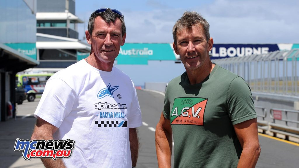 Troy Bayliss twith Troy Corser at Phillip Island 2018 - Image Colvin