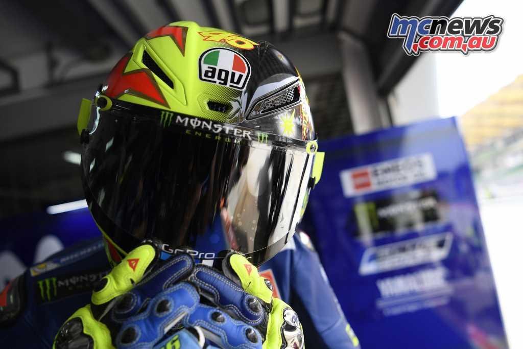 Rossi in his AGV Pista GP R 'SoleLunal LE Helmet