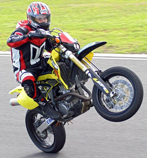 Trev has a long history with the DR-Z400E, including this very modified example at play on the change of direction at Wanneroo Raceway's Skyline