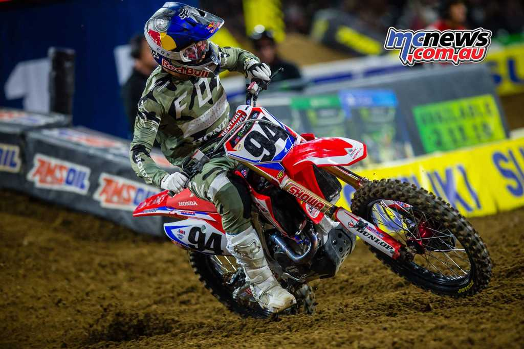 Ken Roczen in action at San Diego before the sickening crash with Cooper Webb