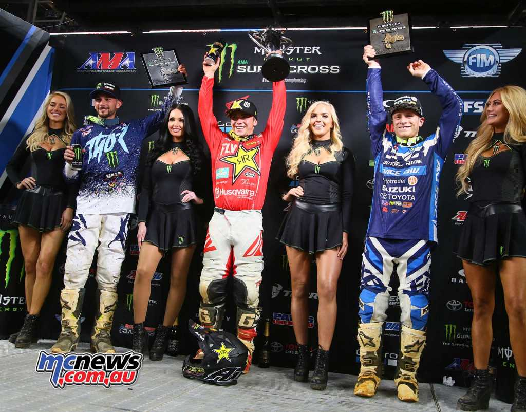 AMA SX 2018 - Round 7 - Arlington - 250 Results Zach Osborne - Husvarna Colt Nichols - Yamaha +3.31 James Decotis - Suzuki +10.40