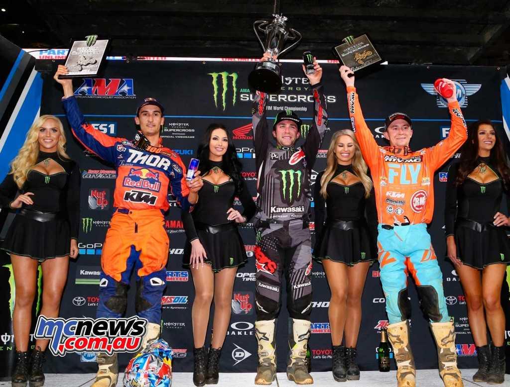 AMA SX 2018 - Round 7 - Arlington - 450 Results Eli Tomac - Kawasaki Marvin Musquin - KTM +5.69 Blake Baggett - KTM +9.79