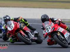 Troy Bayliss and Troy Herfoss battling in the 2018 ASBK season opener at Phillip Island - Image by TBG