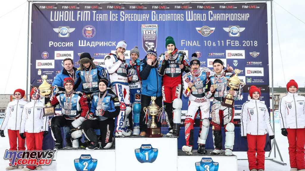 2018 Ice Speedway Gladiators (ISG) - Shadrinsk - Team ISG podium - 1. Russia, 2. Sweden, 3. Austria - Image by good-shoot.com/reygondeau