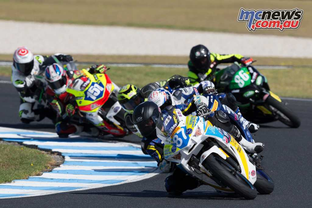 Levy leading the Supersport 300 field - Image by TBG Sport