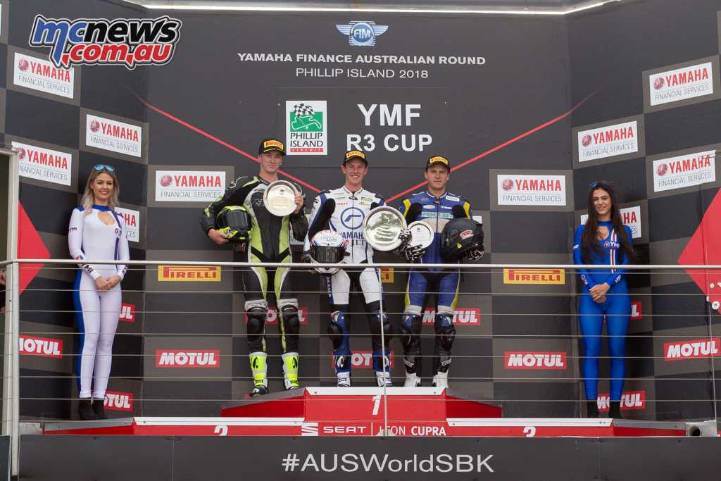 YMF R3 Cup Overall Podium - 1. Tom BRAMICH (VIC) Yamaha 65,  2. Hunter FORD  (NSW) Yamaha 61, 3. Zac LEVY (QLD) Yamaha 61- Image by TBG Sport