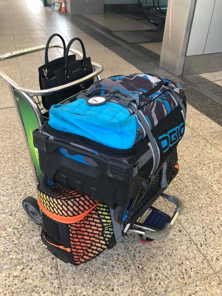Aiden Wagner's mum Jo hot-footed it to the airport and is flying Aiden's gear down to Melbourne for him tonight.
