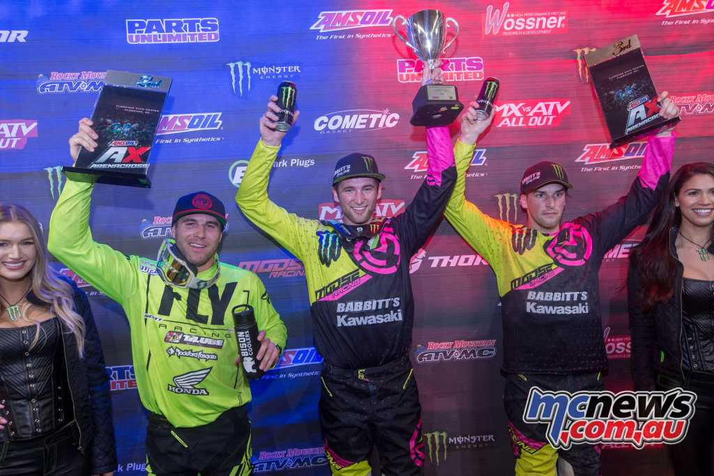 Gavin Faith topped the podium at the Florence Amsoil Arenacross round, ahead of Blose and Hayes
