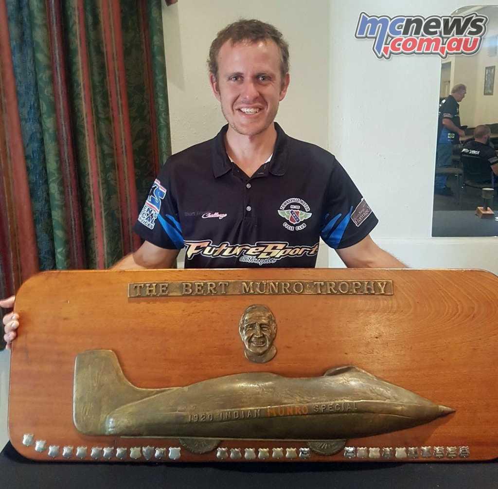 Damien Koppe with the Burt Monro Challenge trophy