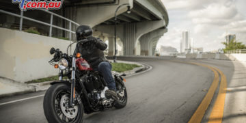 Riding shot of the Harley-Davidson Forty-Eight Special