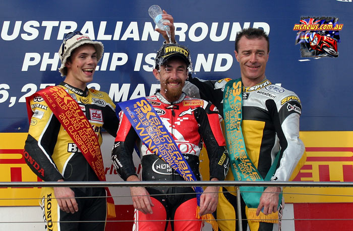 Garry McCoy won at Phillip Island WorldSBK in 2004 from Chris Vermeulen and Pierfrancesco Chili