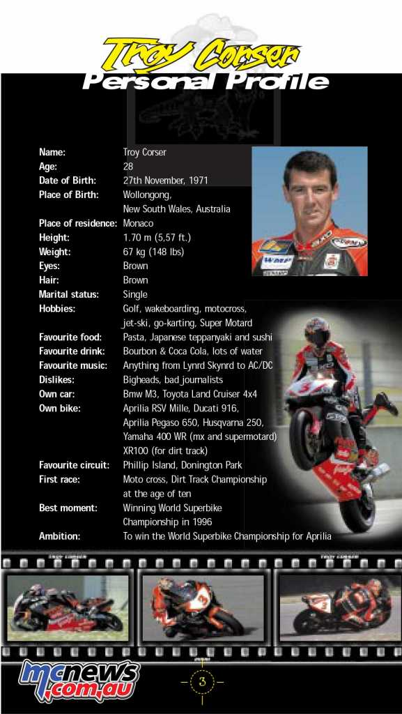 Troy Corser - Personal Profile - 2000