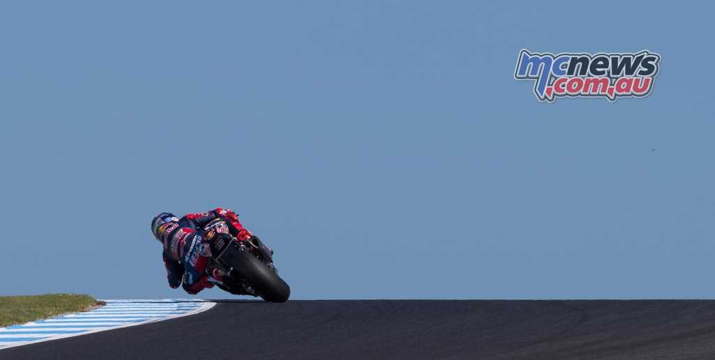 Jake Gagne crests Lukey Heights under clear skies at Phillip Island - Image by TBG