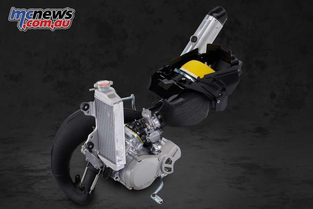 64.8cc liquid-cooled two-stroke engine