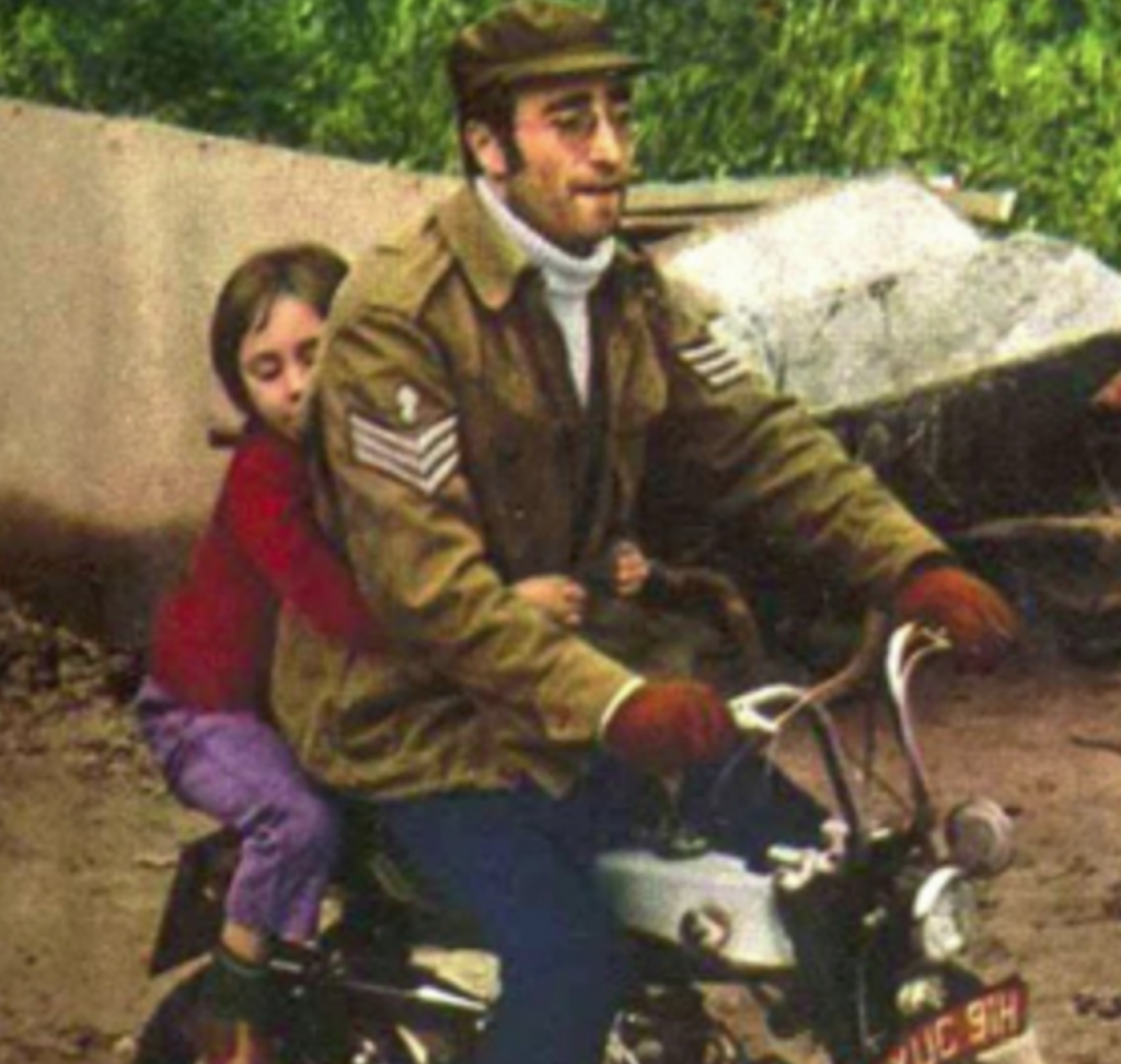 John Lennon on the Honda Z50 Monkey Bike, or Mini Trail as it was known in some markets.