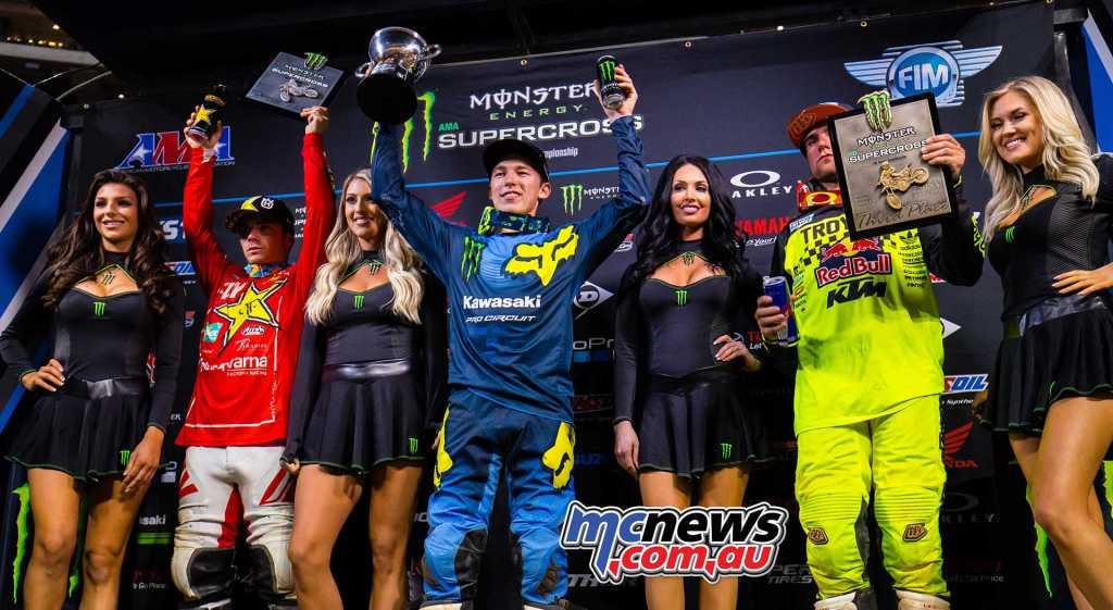 Atlanta Triple Crown - 250SX Class Results Austin Forkner (Kawasaki), 4-2-3 Zach Osborne (Husqvarna), 1-3-5 Jordon Smith (KTM), 3-4-6
