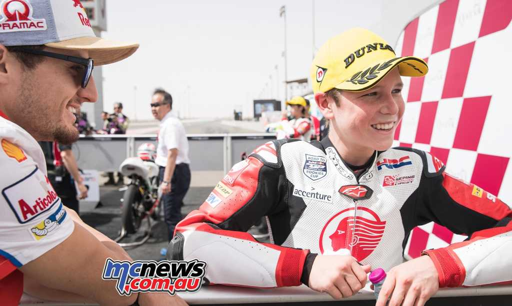 Last weekend Asia Talent Cup season opener joined the MotoGP event at Losail while this weekend the series joins WorldSBK in Thailand. MotoGP rider Jack Miller was on hand to help celebrate Billy's success last weekend at Losail