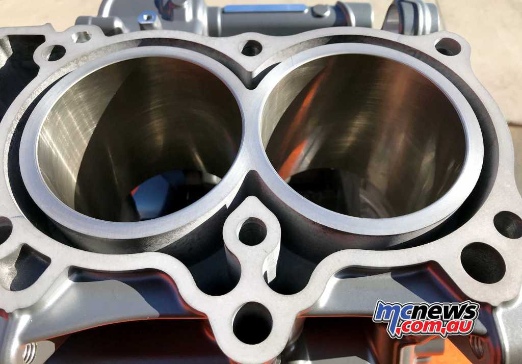 KTM 790 Duke sess the cylinders as machined integral parts of the crankcases